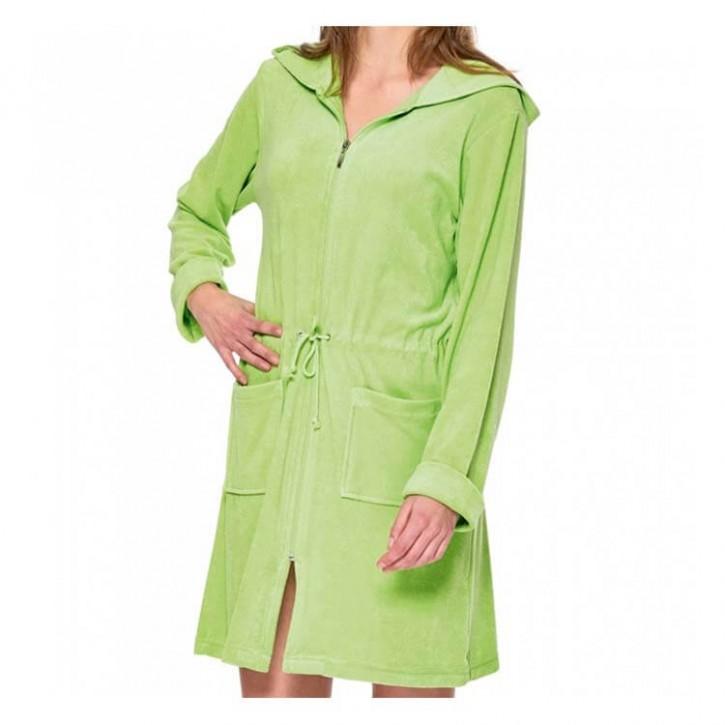 Havlu Elbise Uzun Kol Kapşonlu Açık Yeşil