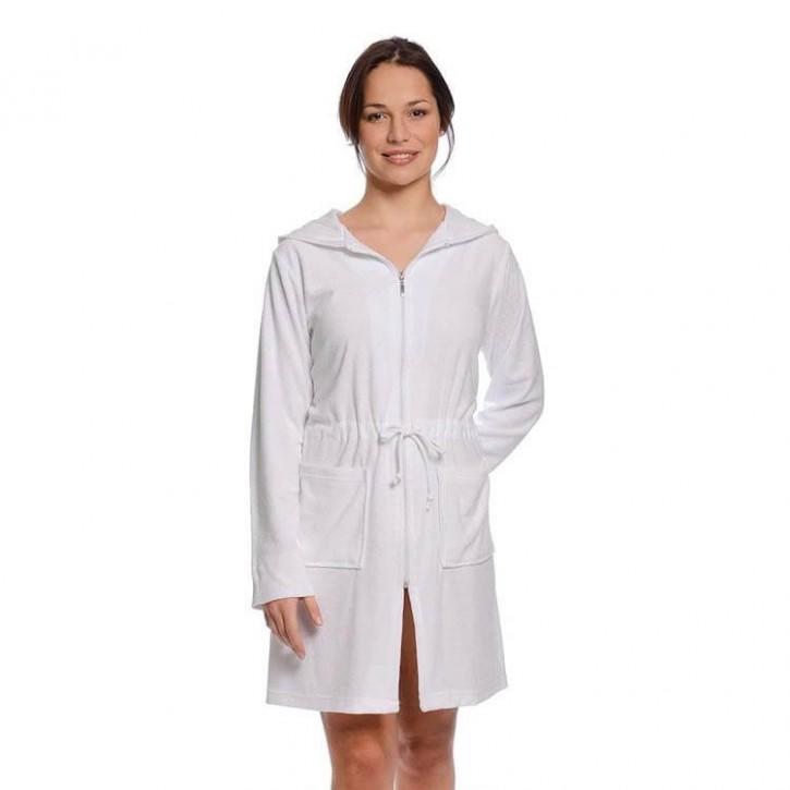 Havlu Elbise Uzun Kol Kapşonlu Beyaz