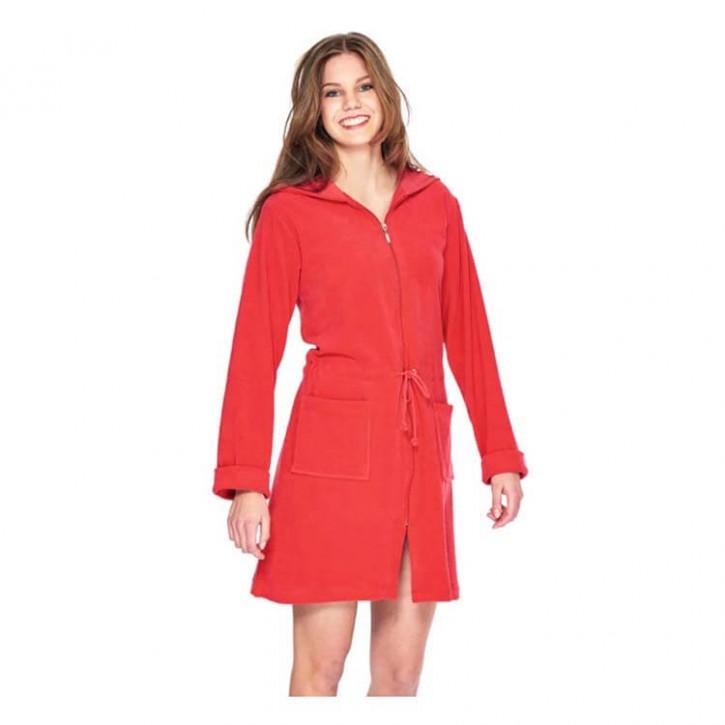 Havlu Elbise Uzun Kol Kapşonlu Kırmızı
