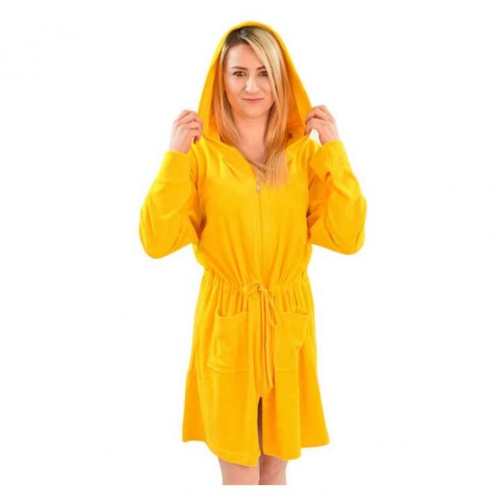 Havlu Elbise Uzun Kol Kapşonlu Sarı