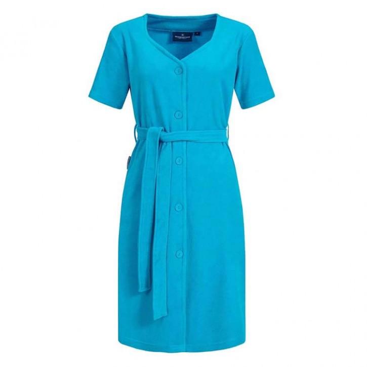 Havlu Elbise Yarım Kol Beşgen Yaka Turkuaz