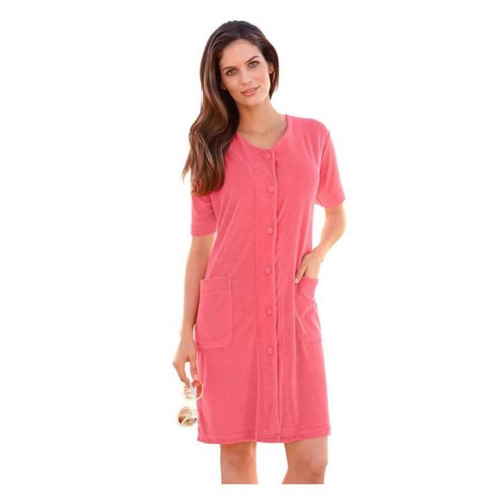 Havlu Elbise Düğmeli Yarım Kol Coral
