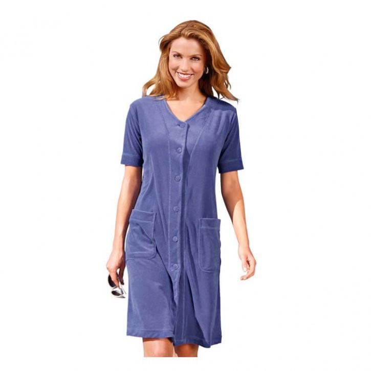Havlu Elbise Düğmeli Yarım Kol Mor