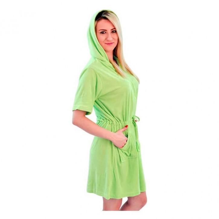 Havlu Elbise Kapşonlu Yarım Kol Açık Yeşil