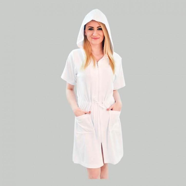 Havlu Elbise Kapşonlu Yarım Kol Beyaz
