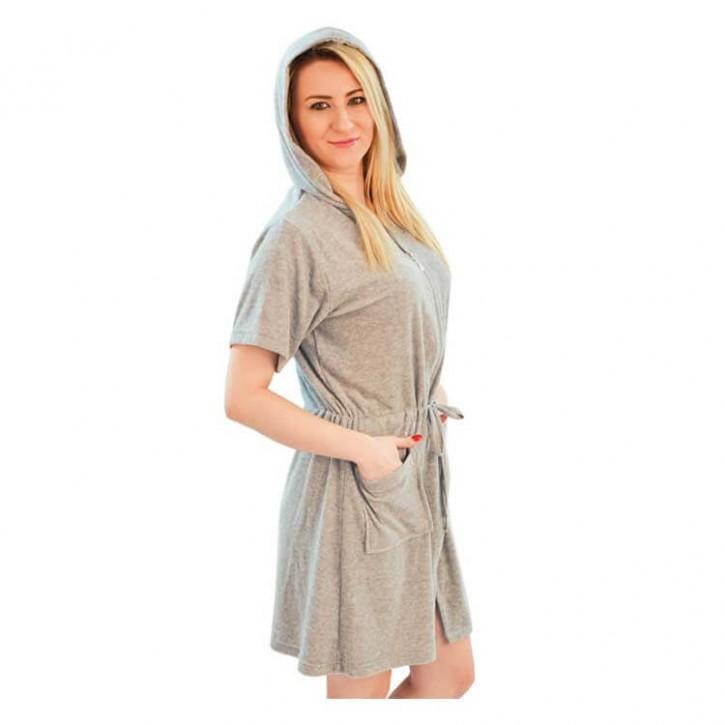 Havlu Elbise Kapşonlu Yarım Kol Gri