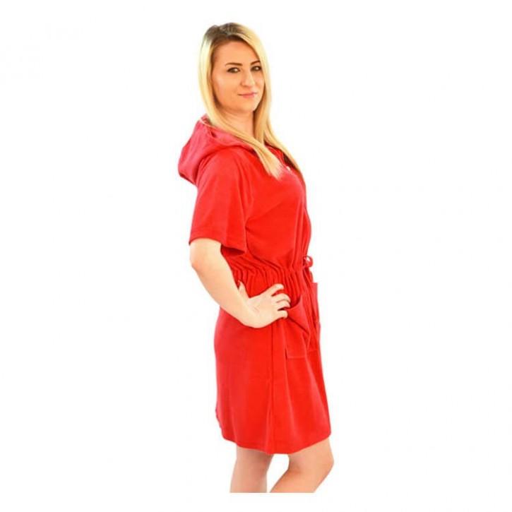 Havlu Elbise Kapşonlu Yarım Kol Kırmızı