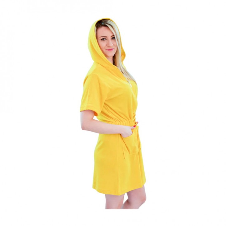 Havlu Elbise Kapşonlu Yarım Kol Sarı