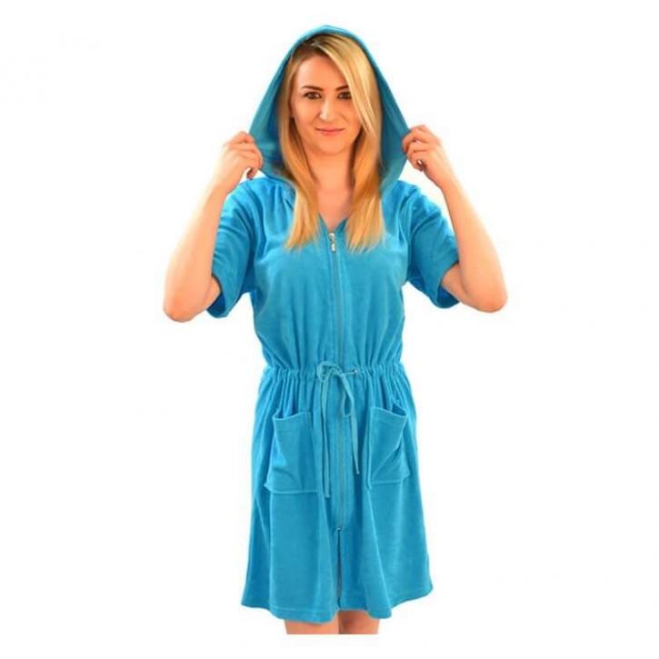 Havlu Elbise Kapşonlu Yarım Kol Turkuaz