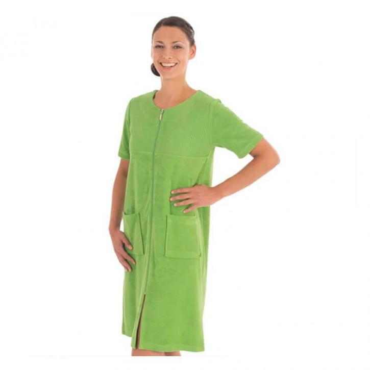 Havlu Elbise Yarım Kol Robalı Çimen Yeşil