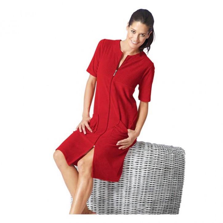 Havlu Elbise Yarım Kol Robalı Kırmızı