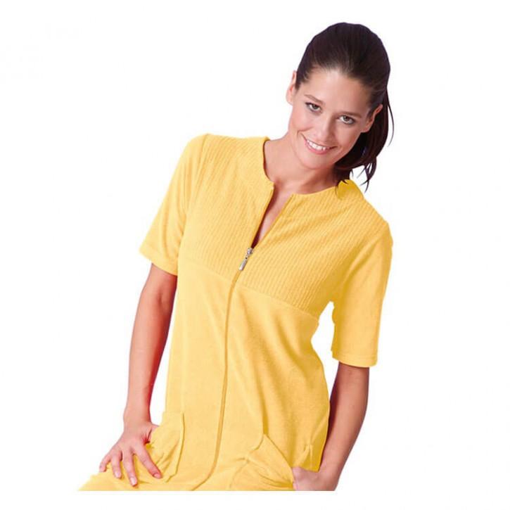 Havlu Elbise Yarım Kol Robalı Sarı