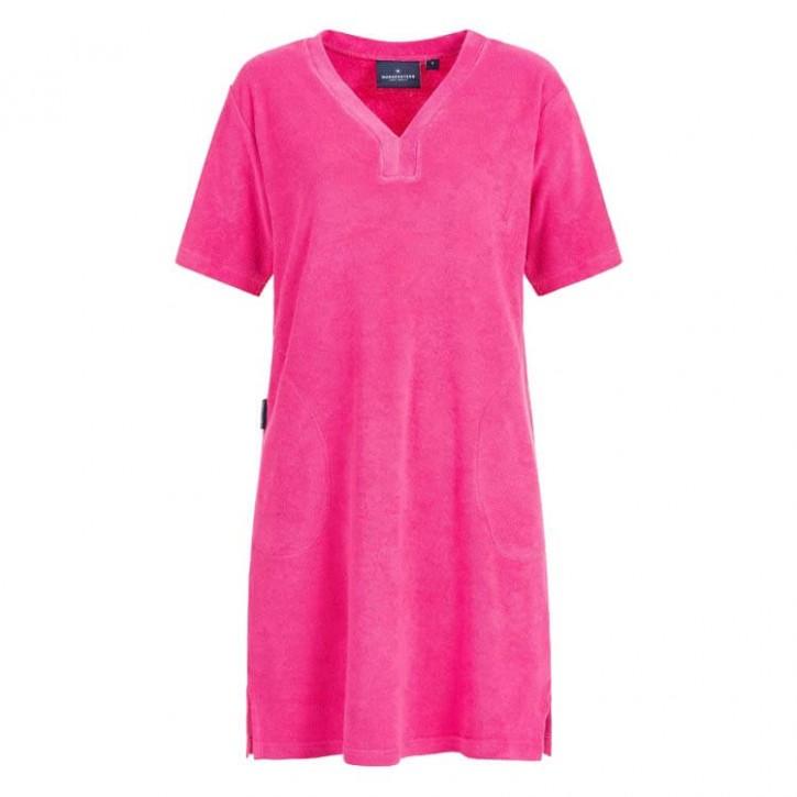 Havlu Elbise Yarım Kol V Yaka Fuşya