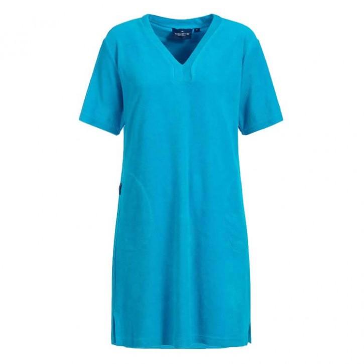 Havlu Elbise Yarım Kol V Yaka Turkuaz
